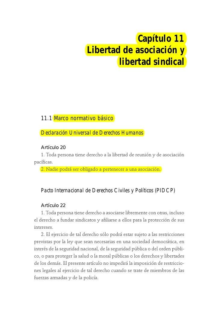 Capítulo 11                           Libertad de asociación y                                   libertad sindical   11.1 ...