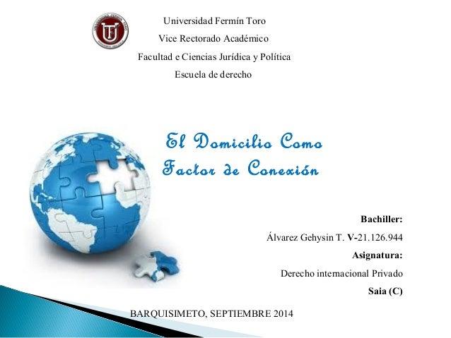 Universidad Fermín Toro  Vice Rectorado Académico  Facultad e Ciencias Jurídica y Política  Escuela de derecho  El Domicil...