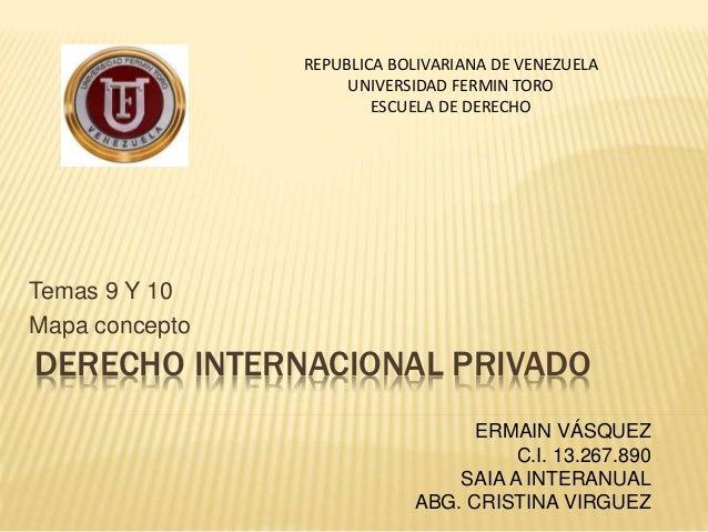 Temas 9 Y 10  Mapa concepto  REPUBLICA BOLIVARIANA DE VENEZUELA  UNIVERSIDAD FERMIN TORO  ESCUELA DE DERECHO  DERECHO INTE...