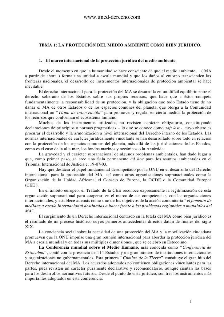 www.uned-derecho.com           TEMA 1: LA PROTECCIÓN DEL MEDIO AMBIENTE COMO BIEN JURÍDICO.          1. El marco internaci...