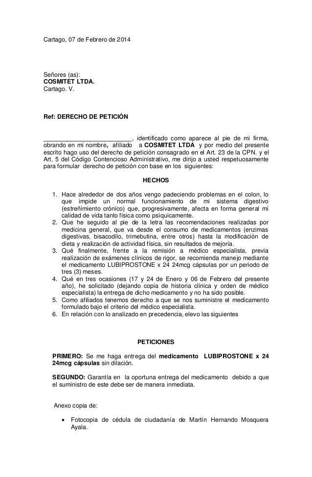 Cartago, 07 de Febrero de 2014 Señores (as): COSMITET LTDA. Cartago. V. Ref: DERECHO DE PETICIÓN _________________________...