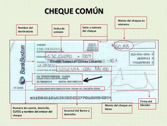 CHEQUE COMÚN Serie y número del cheque Nombre del destinatario Numero de cuenta, domicilio, CUIT/L y nombre del emisor del...