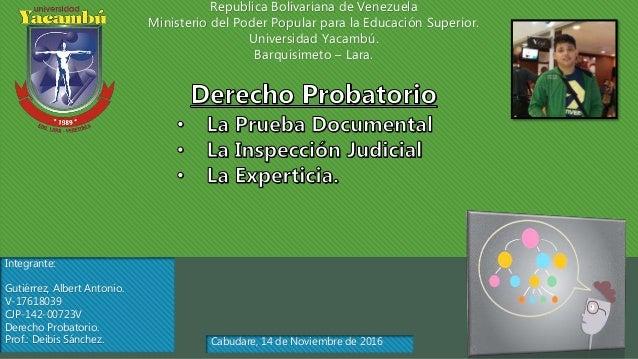 Republica Bolivariana de Venezuela Ministerio del Poder Popular para la Educación Superior. Universidad Yacambú. Barquisim...