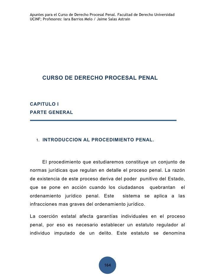 Apuntes para el Curso de Derecho Procesal Penal. Facultad de Derecho Universidad UCINF; Profesores: Iara Barrios Melo / Ja...