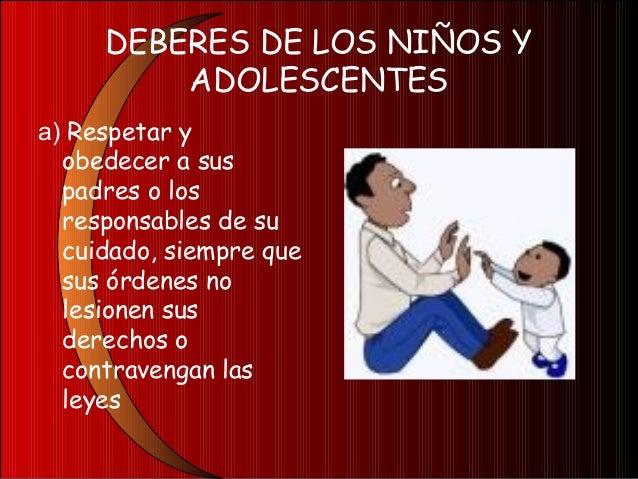 DEBERES DE LOS NIÑOS YADOLESCENTESb) Estudiarsatisfactoriamente;