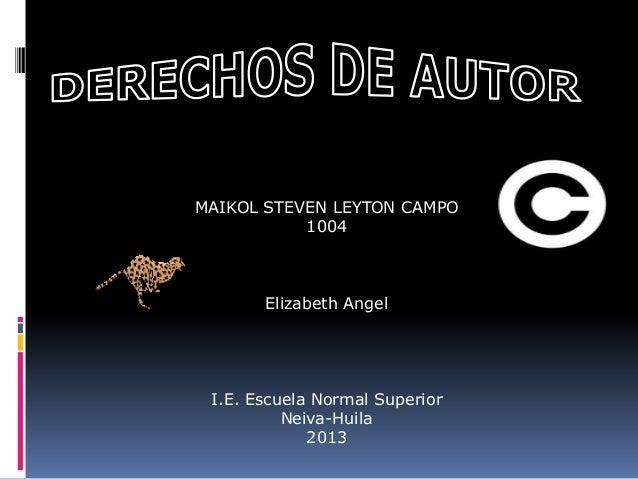 MAIKOL STEVEN LEYTON CAMPO 1004 Elizabeth Angel I.E. Escuela Normal Superior Neiva-Huila 2013