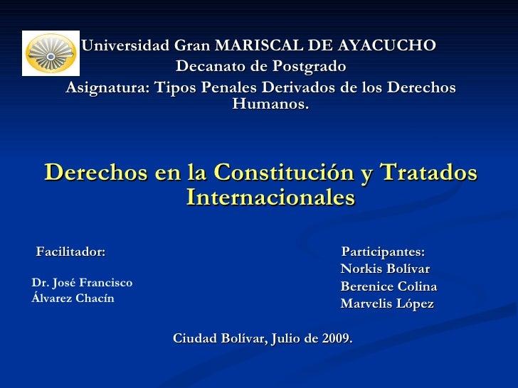 <ul><li>Universidad Gran MARISCAL DE AYACUCHO  </li></ul><ul><li>Decanato de Postgrado </li></ul><ul><li>Asignatura: Tipos...