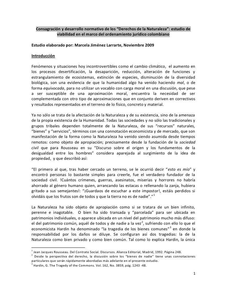 """Consagración y desarrollo normativo de los """"Derechos de la Naturaleza"""": estudio de                viabilidad en el marco d..."""
