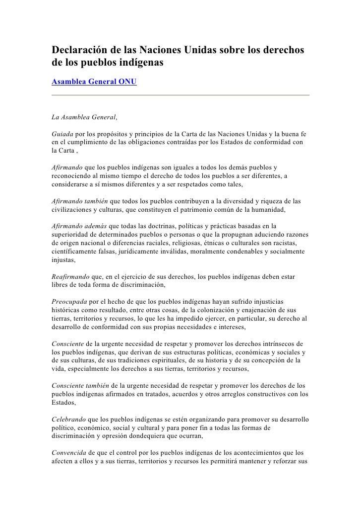 Declaración de las Naciones Unidas sobre los derechos de los pueblos indígenas Asamblea General ONU    La Asamblea General...