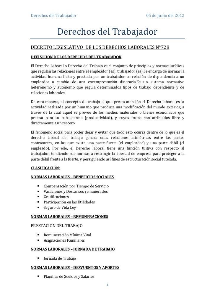 Derechos del Trabajador                                             05 de Junio del 2012               Derechos del Trabaj...