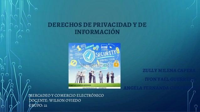 DERECHOS DE PRIVACIDAD Y DE INFORMACIÓN MERCADEO Y COMERCIO ELECTRÓNICO DOCENTE: WILSON OVIEDO GRUPO: 21 ZULLY MILENA CAPE...