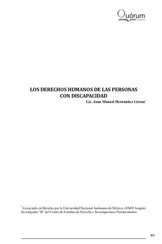 LOS DERECHOS HUMANOS DE LAS PERSONAS               CON DISCAPACIDAD                                           Lic. Juan Ma...