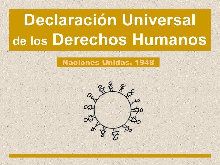 Declaración Universal de los  Derechos Humanos Naciones Unidas, 1948