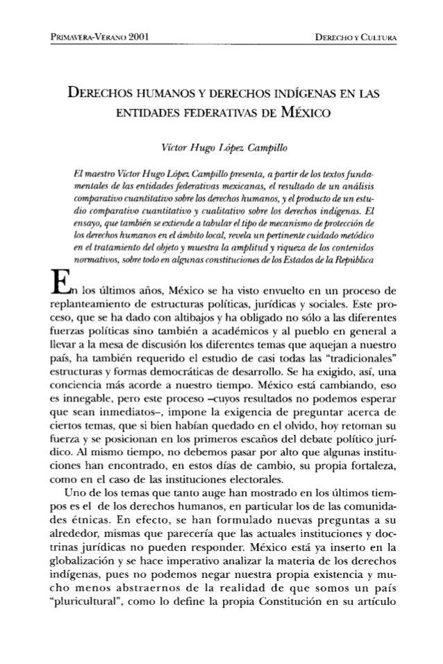 PRJNL'-'ERA-VE&A. I() 2001 DERECHO Y CULTURA  DERECHOS HUMANOS Y DERECHOS INDÍGENAS EN LAS ENTIDADES FEDERATIVAS DE MÉXICO...