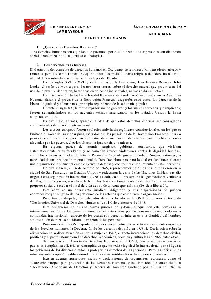"""IEP """"INDEPENDENCIA""""                                      ÁREA: FORMACIÓN CÍVICA Y                  LAMBAYEQUE             ..."""