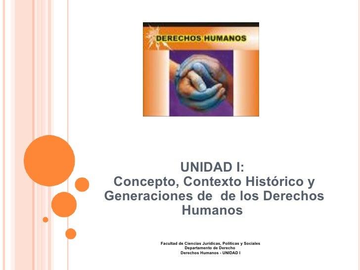 UNIDAD I:  Concepto, Contexto Histórico y Generaciones de de los Derechos Humanos  Facultad de Ciencias Jurídicas, Políti...