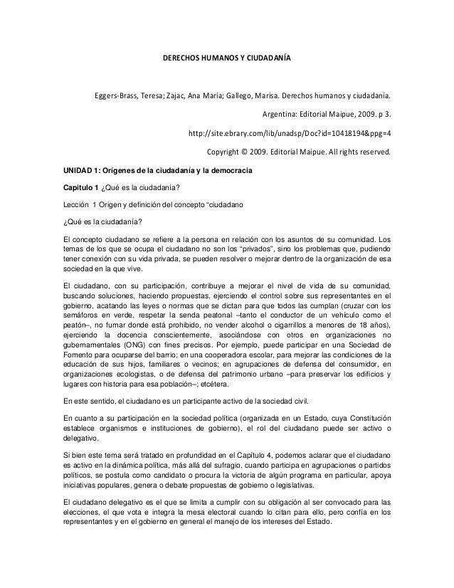 DERECHOS HUMANOS Y CIUDADANÍA Eggers-Brass, Teresa; Zajac, Ana María; Gallego, Marisa. Derechos humanos y ciudadanía. Arge...