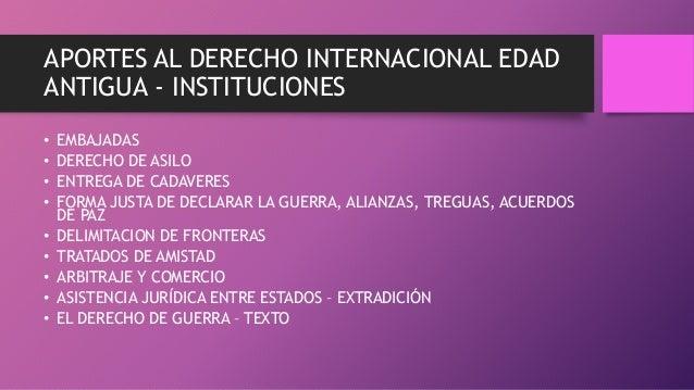 APORTES AL DERECHO INTERNACIONAL EDAD ANTIGUA - INSTITUCIONES • EMBAJADAS • DERECHO DE ASILO • ENTREGA DE CADAVERES • FORM...