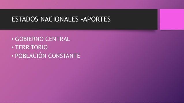 ESTADOS NACIONALES -APORTES • GOBIERNO CENTRAL • TERRITORIO • POBLACIÓN CONSTANTE