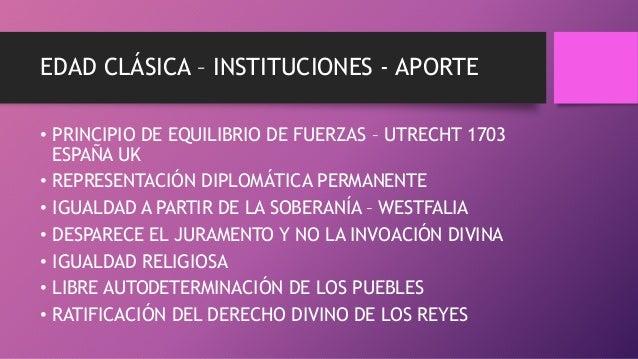 EDAD CLÁSICA – INSTITUCIONES - APORTE • PRINCIPIO DE EQUILIBRIO DE FUERZAS – UTRECHT 1703 ESPAÑA UK • REPRESENTACIÓN DIPLO...