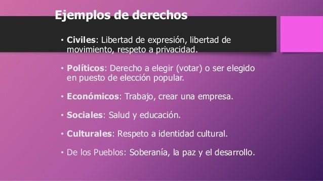 Ejemplos de derechos • Civiles: Libertad de expresión, libertad de movimiento, respeto a privacidad. • Políticos: Derecho ...
