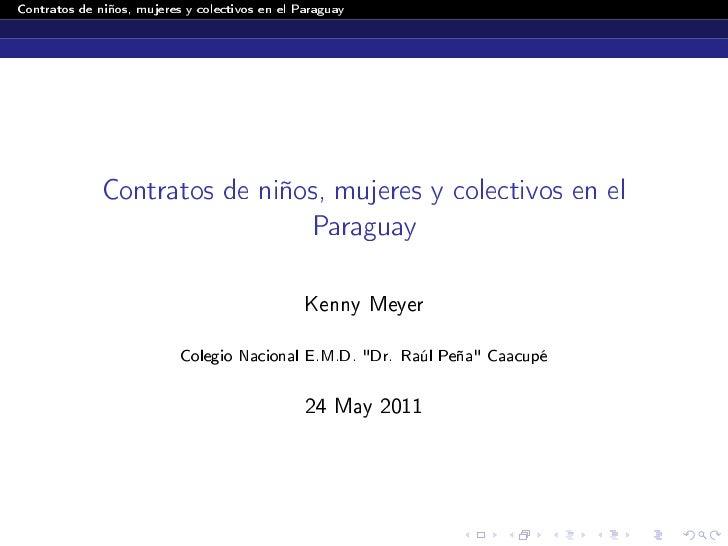 Contratos de niños, mujeres y colectivos en el Paraguay              Contratos de niños, mujeres y colectivos en el       ...