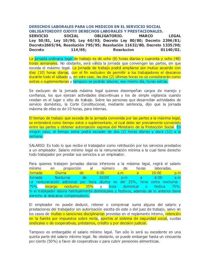 Derechos laborales para los medicos en el servicio social obligatorio