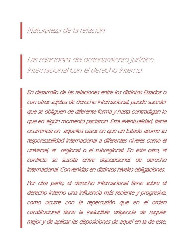 Naturaleza de la relaciónLas relaciones del ordenamiento jurídicointernacional con el derecho internoEn desarrollo de las ...