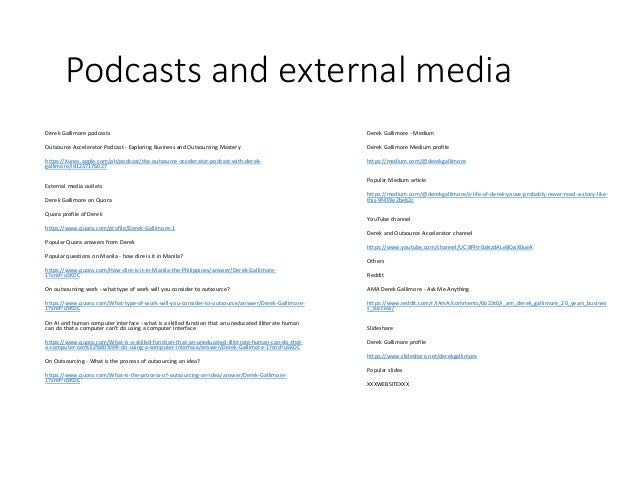 Podcasts and external media Derek Gallimore podcasts Outsource Accelerator Podcast - Exploring Business and Outsourcing Ma...