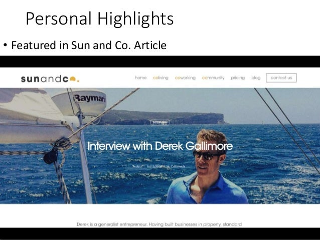 Personal Highlights • Featured in Sun and Co. Article