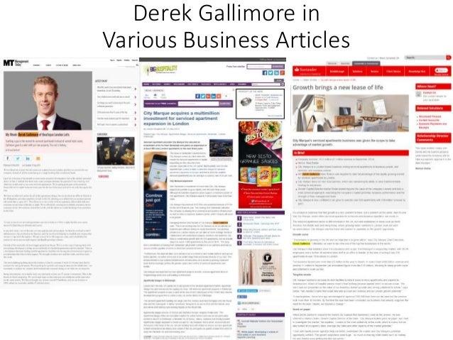 Derek Gallimore in Various Business Articles