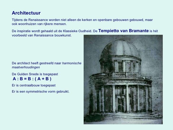 Architectuur Tijdens de Renaissance worden niet alleen de kerken en openbare gebouwen gebouwd, maar ook woonhuizen van rij...