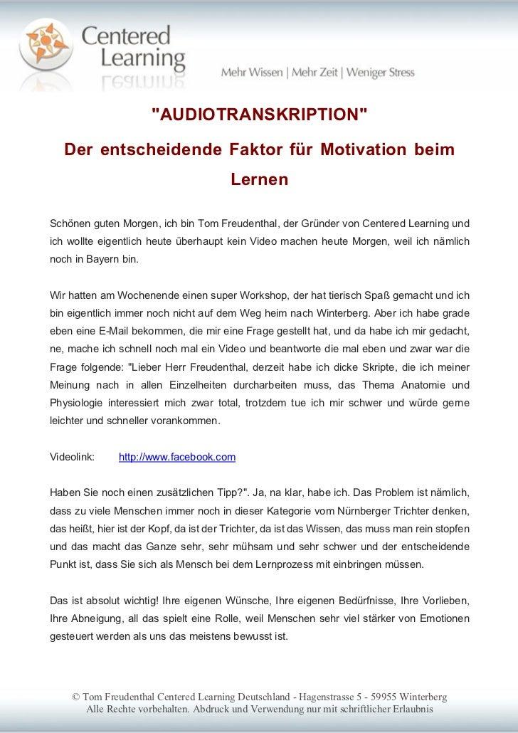 """""""AUDIOTRANSKRIPTION""""   Der entscheidende Faktor für Motivation beim                                        LernenSchönen g..."""