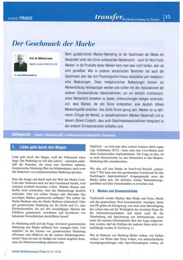 Der Geschmack der Marke - Zeitschrift transfer 01. April 2015