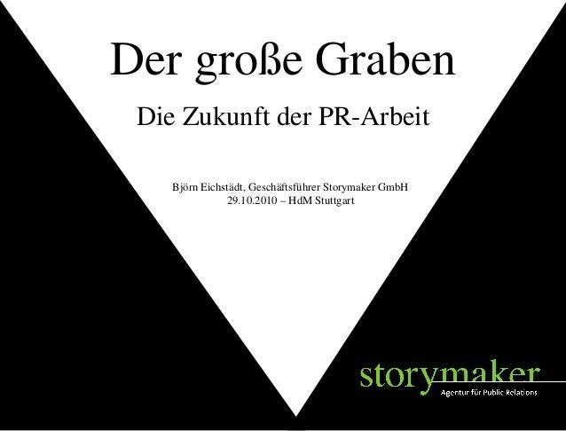 STORYMAKER GMBH TÜBINGEN Björn Eichstädt, Geschäftsführer Storymaker GmbH 29.10.2010 – HdM Stuttgart Die Zukunft der PR-Ar...