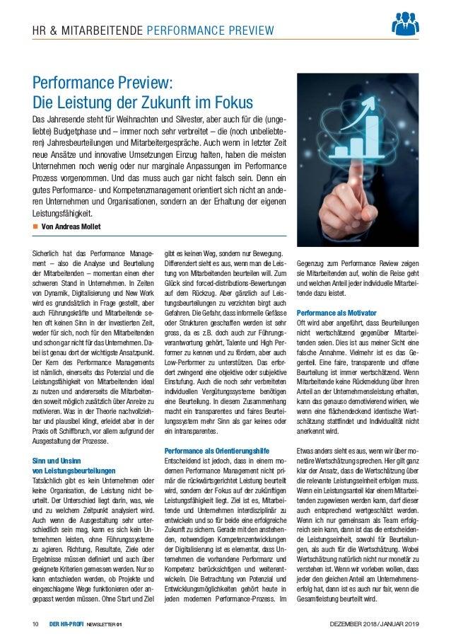 DEZEMBER 2018/JANUAR 2019DER HR-PROFI NEWSLETTER 0110 HR & MITARBEITENDE PERFORMANCE PREVIEW Sicherlich hat das Performanc...