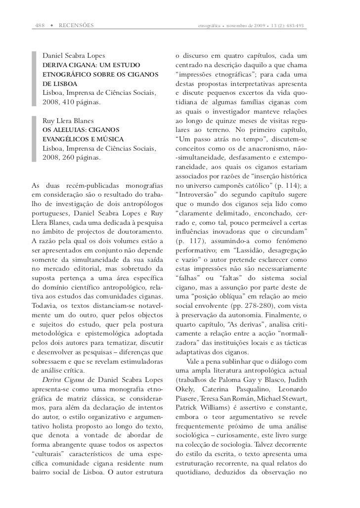 488      RECENSõES                                 etnográfica      novembro de 2009      13 (2): 483-493   Daniel Seab...