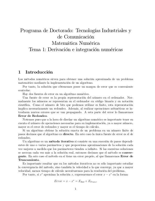 Programa de Doctorado: Tecnologías Industriales y                de Comunicación              Matemática Numérica    Tema ...