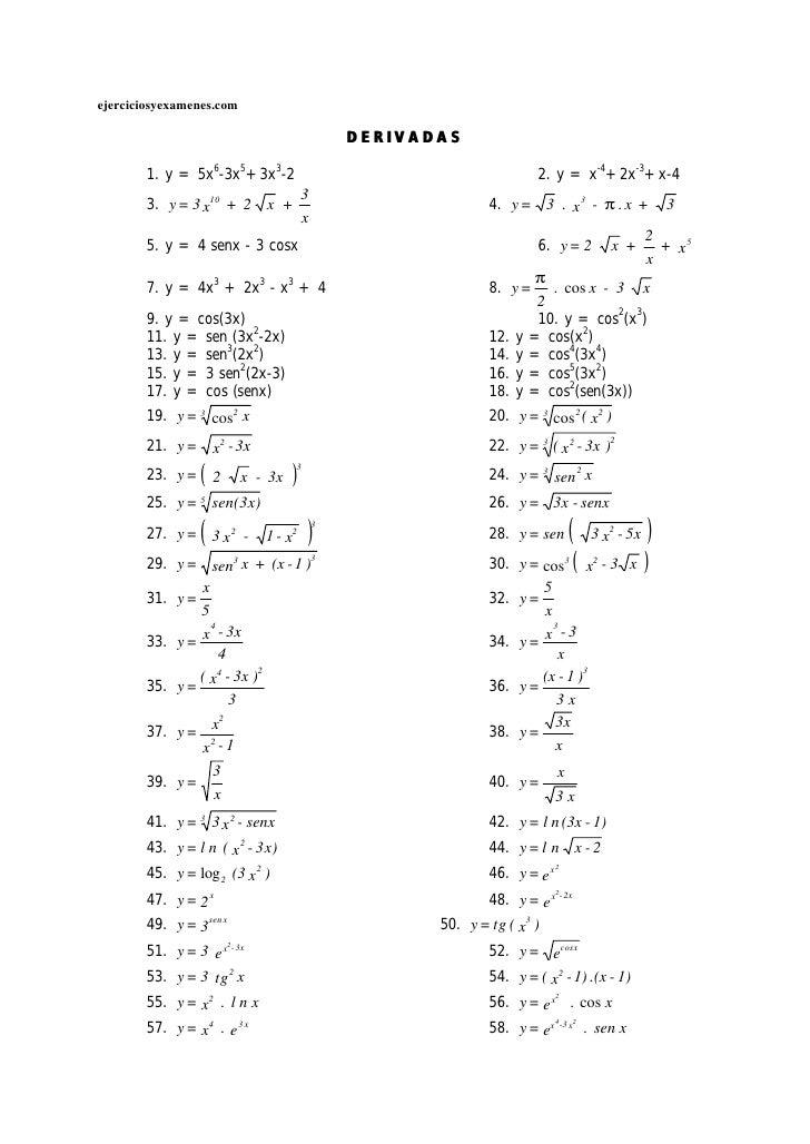 ejerciciosyexamenes.com                                                    DERIVADAS         1. y = 5x6-3x5+3x3-2         ...