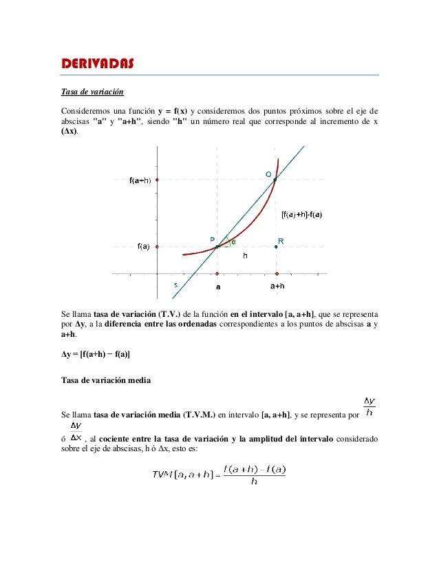 DERIVADAS Tasa de variación Consideremos una función y = f(x) y consideremos dos puntos próximos sobre el eje de abscisas ...