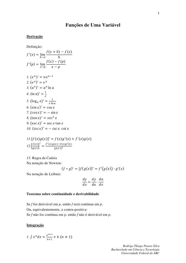 1                                          Funções de Uma VariávelDerivaçãoDefinição:                      (         )    ...