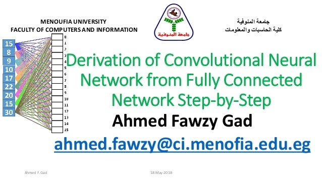 Derivation of Convolutional Neural Network from Fully Connected Network Step-by-Step Ahmed Fawzy Gad ahmed.fawzy@ci.menofi...