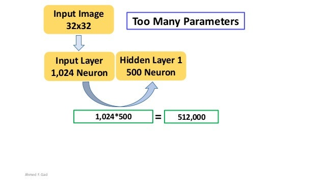 1,024*500 Hidden Layer 1 500 Neuron Input Layer 1,024 Neuron 512,000= Input Image 32x32 Too Many Parameters Ahmed F. Gad