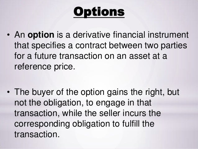 Derivatives- CALL AND PUT OPTIONS