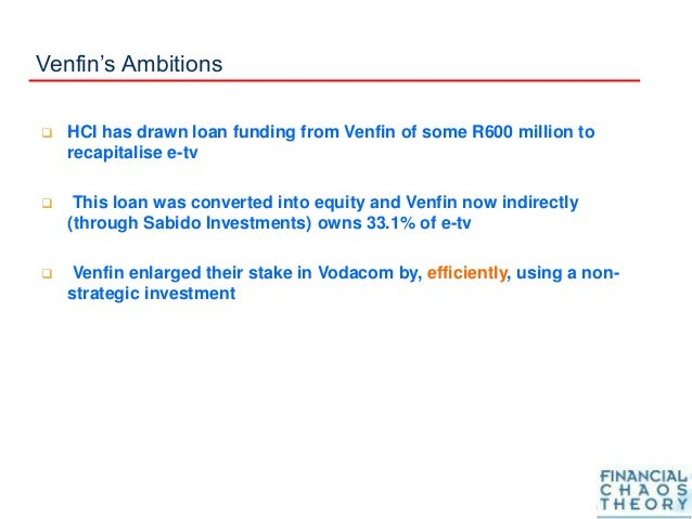 Venfin's Ambitions  HCI has drawn loan funding from Venfin of some R600 million to recapitalise e-tv  This loan was conv...