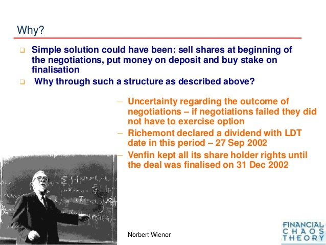 Why?  Simple solution could have been: sell shares at beginning of the negotiations, put money on deposit and buy stake o...