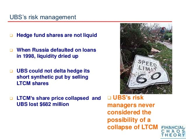 UBS's risk management  Hedge fund shares are not liquid  When Russia defaulted on loans in 1998, liquidity dried up  UB...