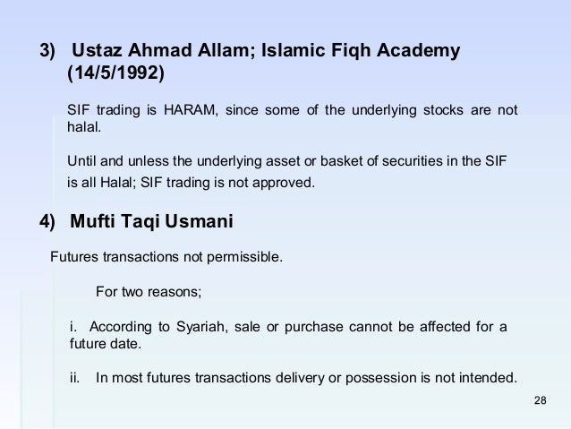 Is future and option trading halal in islam
