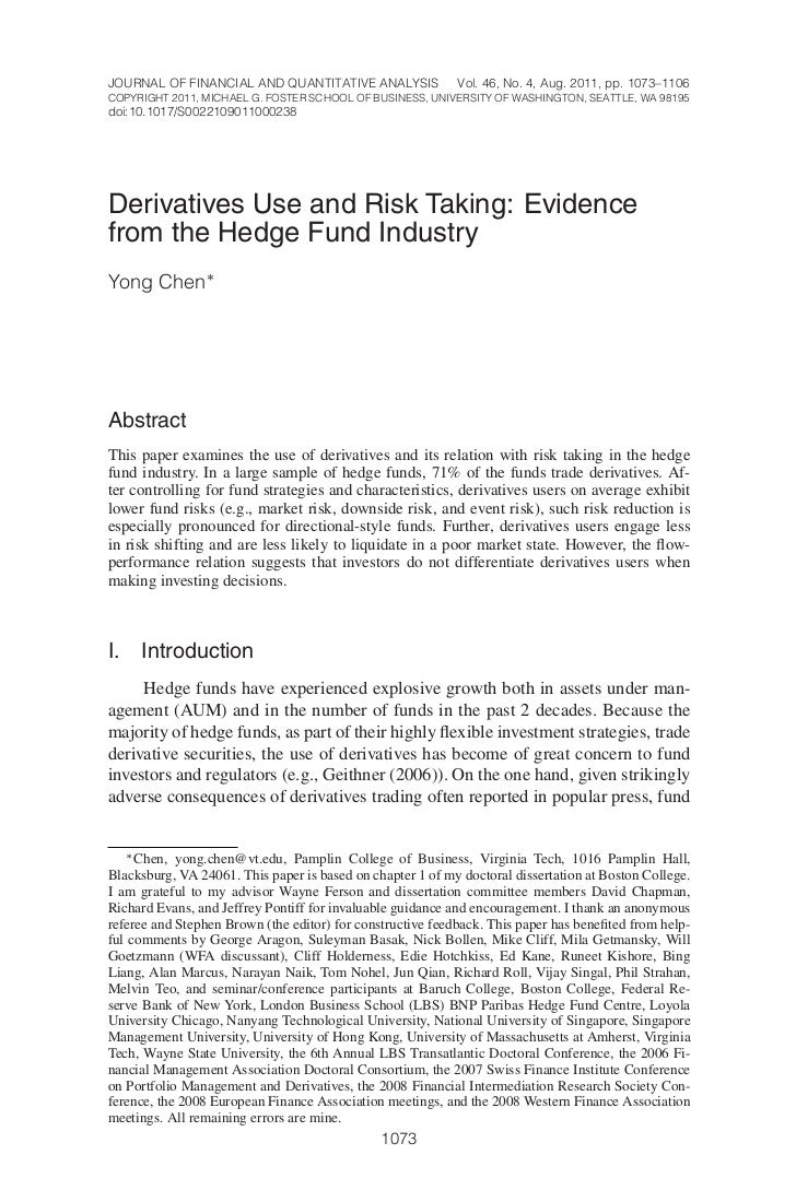 JOURNAL OF FINANCIAL AND QUANTITATIVE ANALYSIS              Vol. 46, No. 4, Aug. 2011, pp. 1073–1106COPYRIGHT 2011, MICHAE...