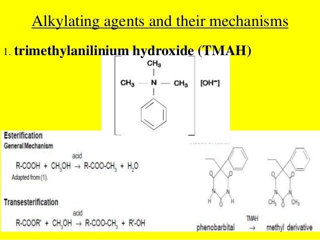 Alkylating agents and their mechanisms1. trimethylanilinium hydroxide (TMAH)